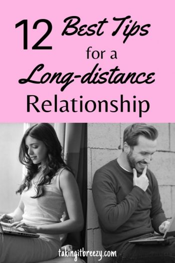 man and woman communicating long distance