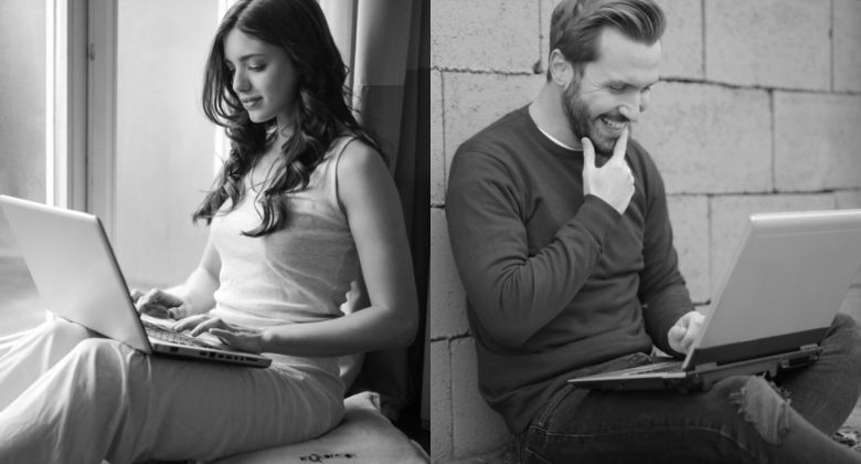 man and woman on laptops in long distance relationship