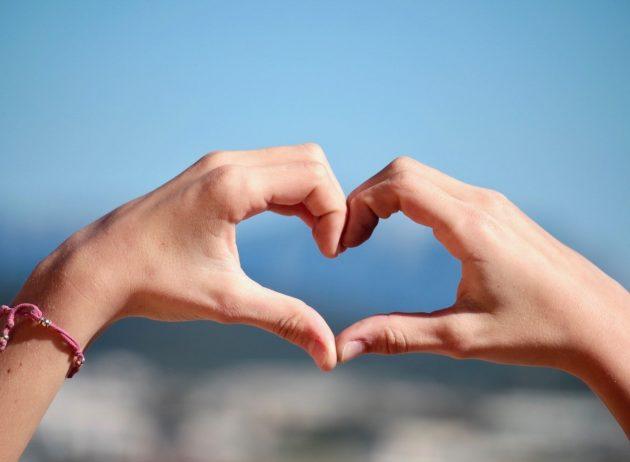 heart hands for self-care and self-love